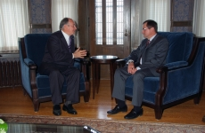 His Highness the Aga Khan meets with Alberta Premier Ed Stelmach during his visit to Edmonton on June 9, 2009.
