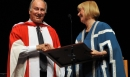 His Highness the Aga Khan is conferred an Honorary Doctor of Laws degree by Linda Hughes, Chancellor of the University of Albert