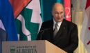 His Highness the Aga Khan addresses the gathering at the inauguration of the Aga Khan Garden Alberta. 2018-10-17