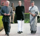 Prince Hussain with Hazar Imam and Princess Zahra during visit to India